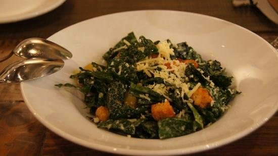 Cafe Lucia: kale salad with bits of chorizo, corn bread croutons and São Jorge cheese