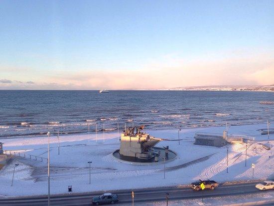 Diego de Almagro Punta Arenas: Vista desde la habitación un dia de nieve