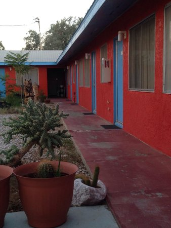 Safari Motor Inn - Joshua Tree: Back of the hotel with garden and sitting area.