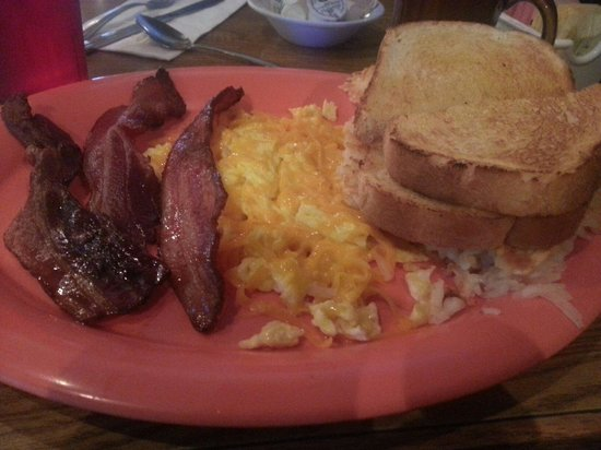 MIke & Ronda's The Place: This is the 2 egg breakfast with hashbrowns, bacon, and sourdough toast.