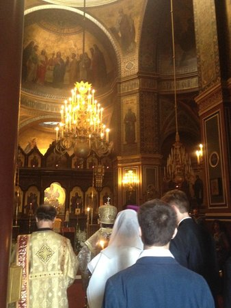 Alexander Nevsky Cathedral: Glimpse of a wedding ceremony inside the cathedral.