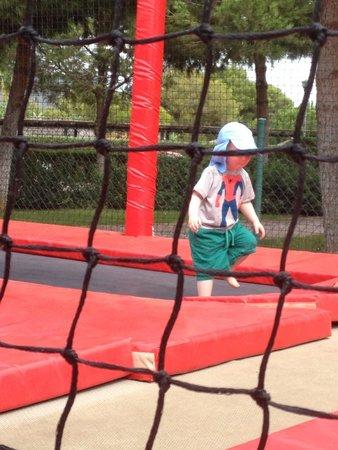 Protur Safari Park Aparthotel: My son on the trampolines at the paradis park.