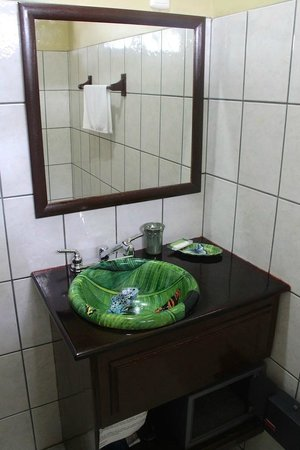 Hotel Manatus: Rainforest art on sink