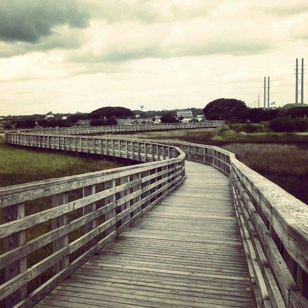 Surf City Pier: Wooden walkways.