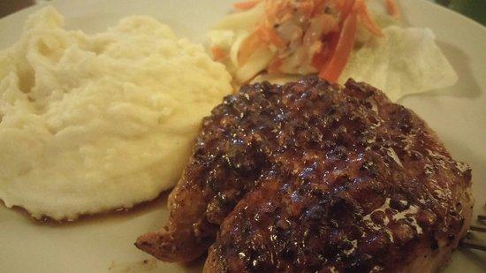 Ya Udah Bistro : Pork neck steak,a 250gr pork neck cuts grilled, served with mashed potato