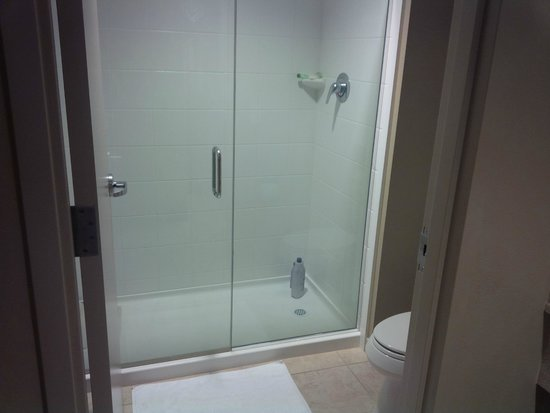 Navy Lodge North Island Naval Air Station : Shower only, but roomy, showerhead is place VERY high