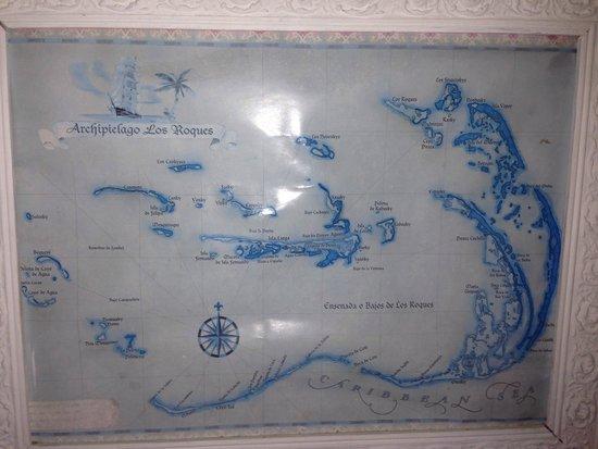Posada Guaripete : Mapa de Los Roques, dentro da posada
