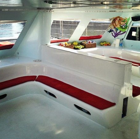 Catamaran Mariah of Palm Beach: Our covered cabin offers an escape from the Florida sun.