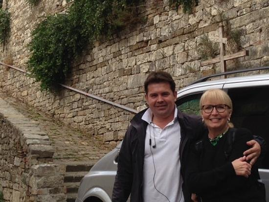 Tano's Florence & Tuscany Tours: Artan and me in Montefioralle, Italy. My husband Bill took the picture.