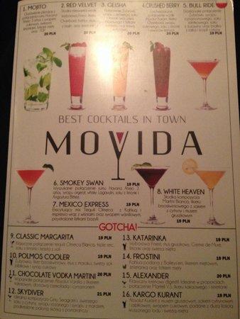 Cocktail Karte.Karte Erste Seite Picture Of Movida Cocktail Bar Krakow Tripadvisor