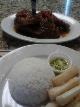 Cuban Delights Cafe : Half roasted chicken and yuca fries!