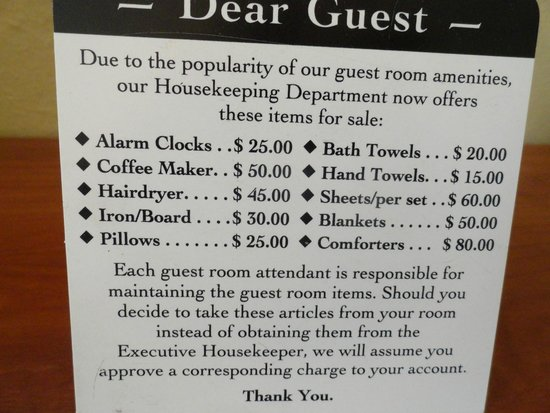 Broadway Inn : I did laugh at the card in the room!