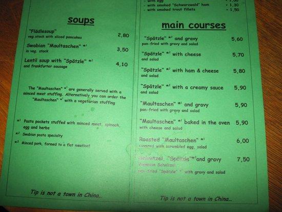 Hirsch Bar - Food Menu.