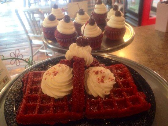 Babycakes Cupcakery: Red Velvet Waffles, Cupcakes and we even have Red Velvet Cupcake Milkshakes!
