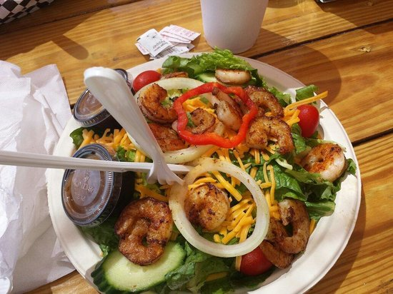 Dolphin View Seafood: Shrimp over salad