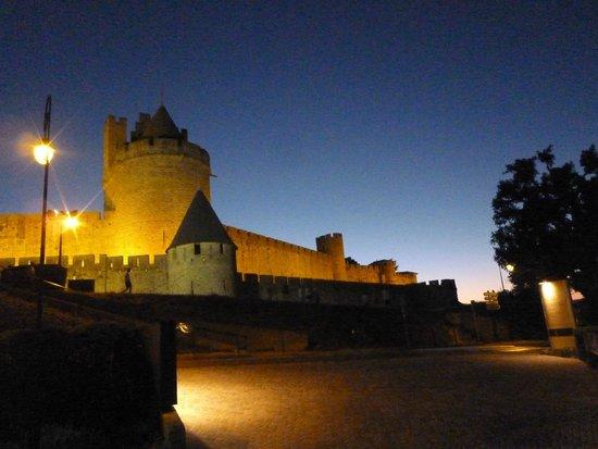 Hotel du Chateau : ホテルの庭からライトアップされた城塞を見る
