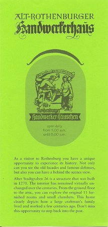 Alt-Rothenburger Handwerkerhaus: Folder front
