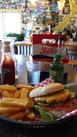 Kiwi's Takeaway : Buffalo Burger w/cheddar cheese, lettuce, tomato, onion, pickles and a 1/2 order of fries