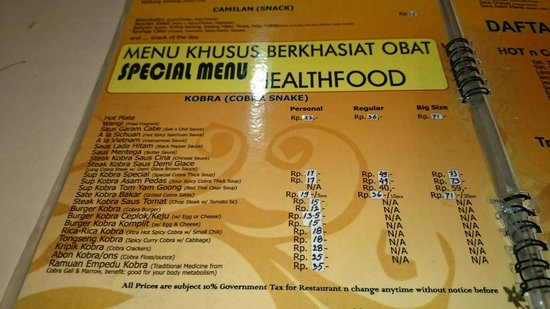 Kobra: Cobra menu