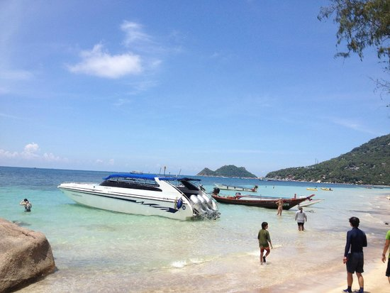 Melati Beach Resort & Spa: Parked our speed boat at Ko Tao for a quick lunch between snorkeling sites