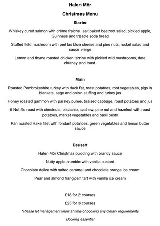 Halen Mor: Christmas menu 2014