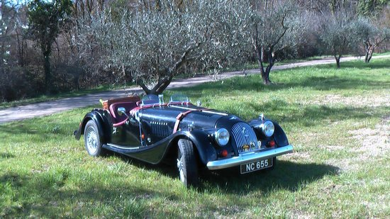 Riviera Classic Car Hire: The Morgan relaxing under the olive trees