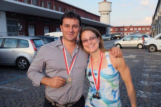 Tours of Amalfi Coast: Caroline sharing her medals with Antonio
