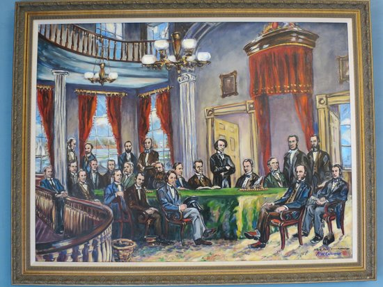 Painting Of The Meeting Of The Founding Fathers In 1864 Or