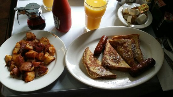 Roxanne Cafe : French Toast with sausage (which is delicious!) and homemade fries!
