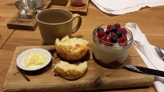 Forage: Fruit parfait with scone.