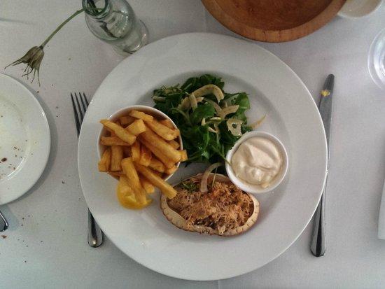 Old Bridge Hotel Restaurant: dressed crab and chips!