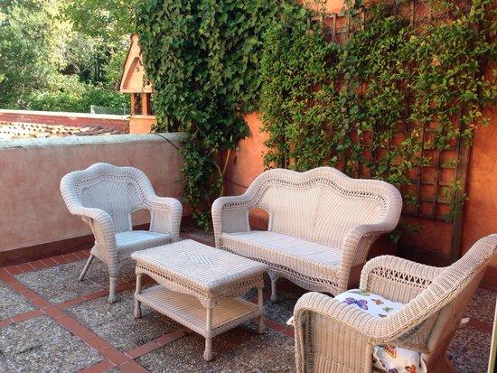 Hotel Quinta De Los Cedros: Terraza privada en habitación
