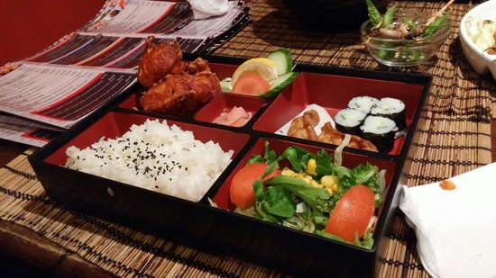 Miso: Fried Chicken Bento! Big proportion with varieties of others food