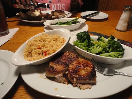 Millhouse Steakhouse Jacksonville: Pork chops with rice pilaf and steamed broccoli