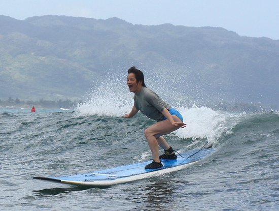 Blue Rush Surf School: Mom enjoying her first ever surf lesson!  Definitely not her last...