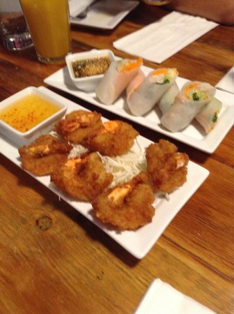 Khao San Road: Appetizers: shrimp and rolls.  Highly recommend both.