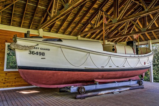 Port Orford Lifeboat Station Museum: The old 37 foot rescue boat used at this station.