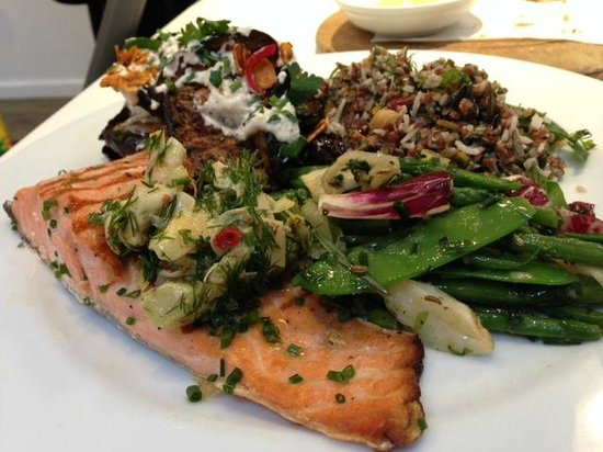 Ottolenghi - Islington: My meal - Salmon plus 3 vegetables
