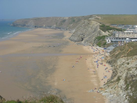 Cornwall Coast Path: Watergate Bay seen from the west