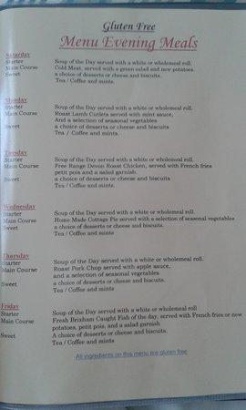 Aveland House: gluten free dinner menu