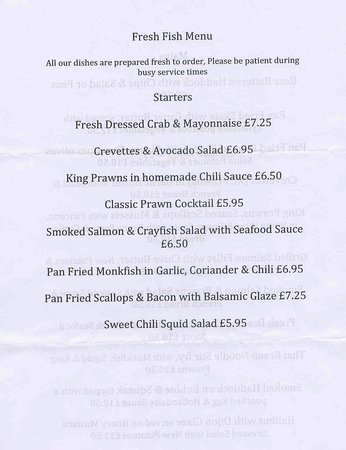 Sample Seafood Starter Menu  Picture Of Horse And Groom Braintree