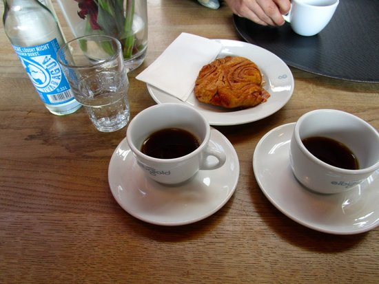 coffee with a traditional pastry from hamburg picture of cafe elbgold hamburg tripadvisor. Black Bedroom Furniture Sets. Home Design Ideas