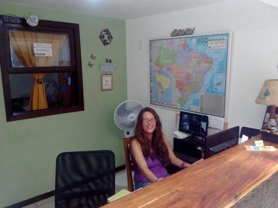 Pousada Borboleta: recepción y Claudia