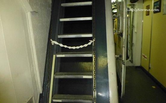 """Icebreaker Mackinaw Maritime Museum Inc. : Stairs going """"up"""" on the Icebreaker Mackinaw"""