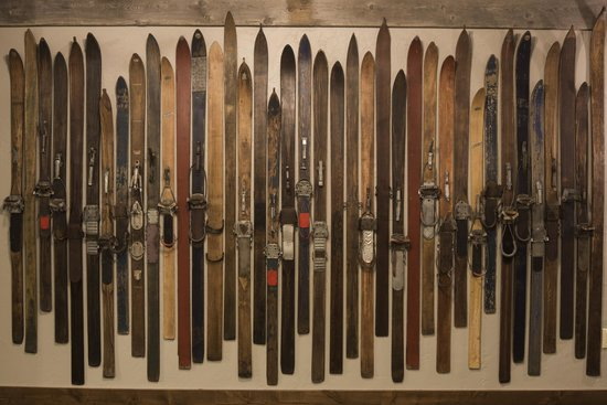 Teton Mountain Lodge & Spa- A Noble House Resort: Vintage skis on display at Teton Mountain Lodge & Spa.
