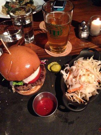 Wrecking Bar Brewpub: Hamburger/slaw and pint of beer $15.00.