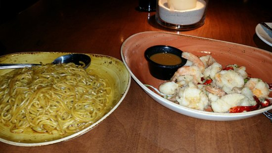 P.F. Chang's: Lo mein and salt&pepper prawns