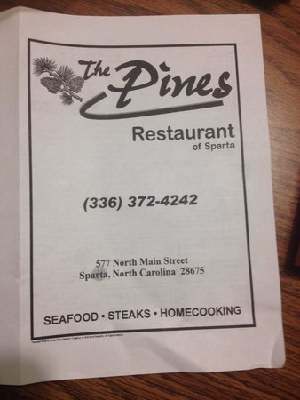 The Pines Restaurant: Menu 1