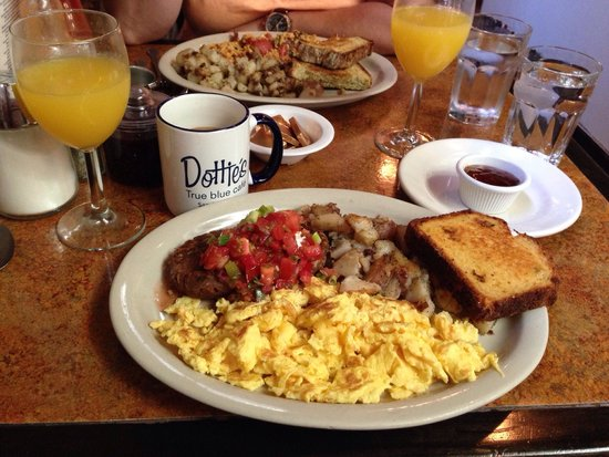 Dottie's True Blue Cafe: Black Bean cakes and Dill corn bread with coffee and Mimosa's of course
