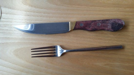 Star Anise : The steak knife is almost a hunting knife,  but the owner said she would get smaller ones for th